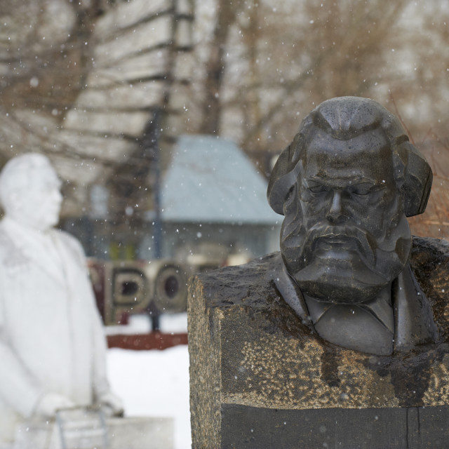"""""""Statue of Karl Marx, Sculptures Park, Moscow, Russia, Europe"""" stock image"""