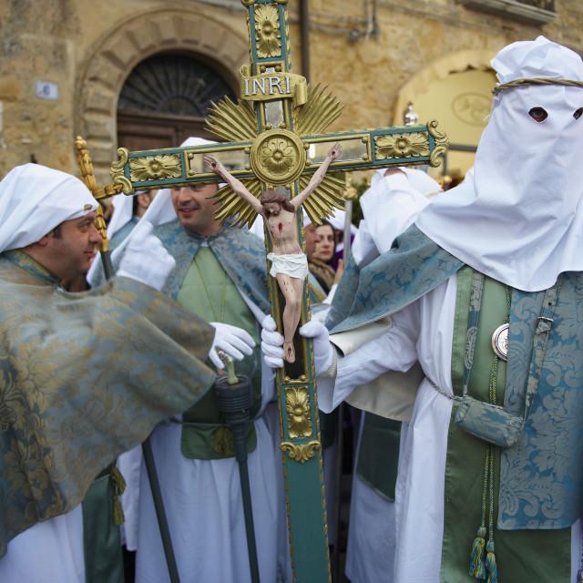 """Procession on Good Friday, Enna, Sicily, Italy, Europe"" stock image"