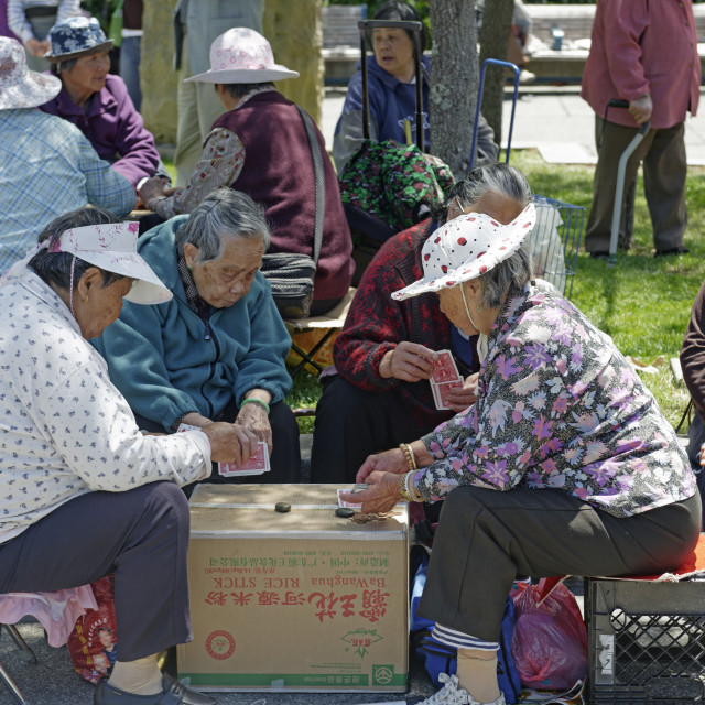 """""""People playing Chinese chess at Portsmouth Square in Chinatown, San..."""" stock image"""