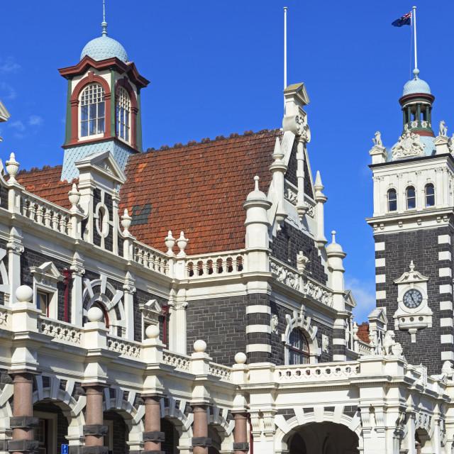 """Dunedin Railway Station, Dunedin, Otago, South Island, New Zealand, Pacific"" stock image"