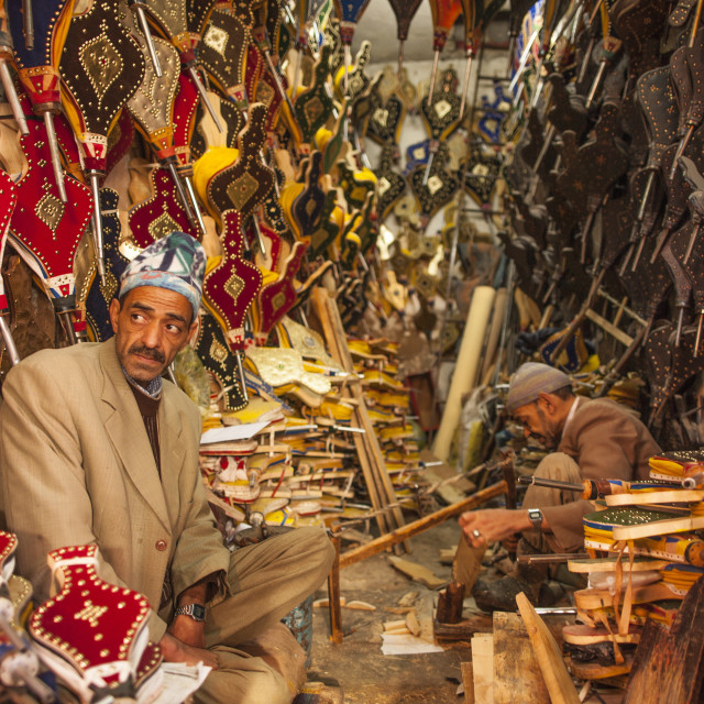 """""""Bellows maker in the Medina, Marrakech, Morocco, North Africa, Africa"""" stock image"""