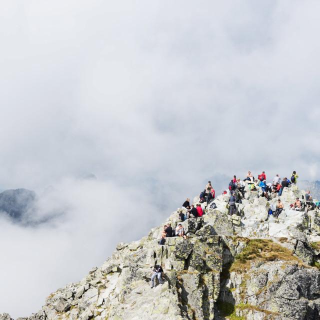 """Hikers on summit of Mount Rysy, 2499m, the highest point in Poland, Zakopane,..."" stock image"