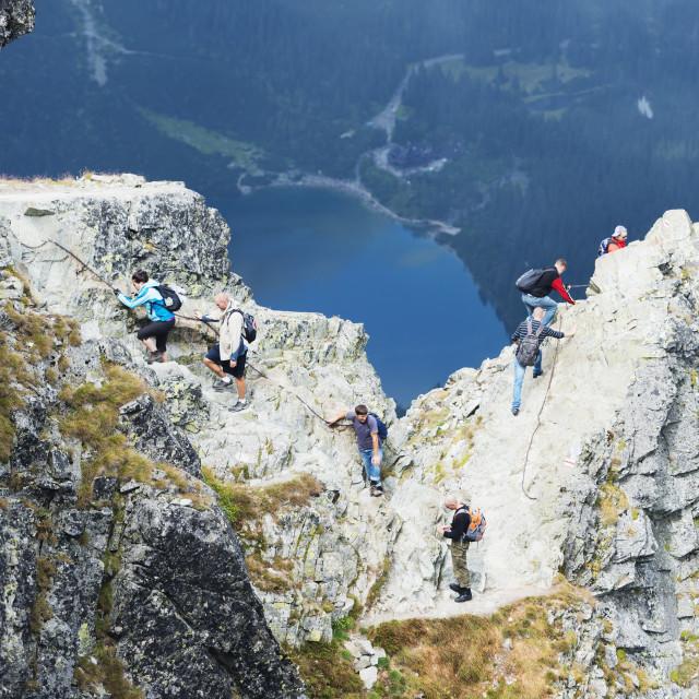 """Hikers on Mount Rysy, 2499m, the highest point in Poland, Zakopane,..."" stock image"