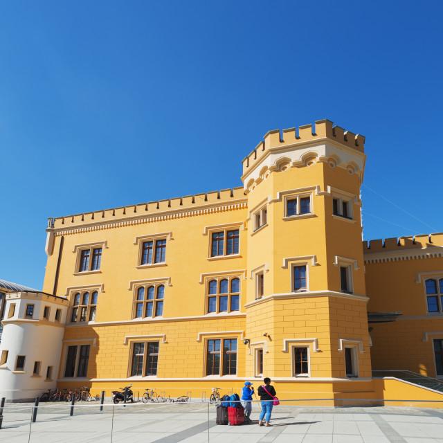 """Railway station building, Wroclaw, Silesia, Poland, Europe"" stock image"
