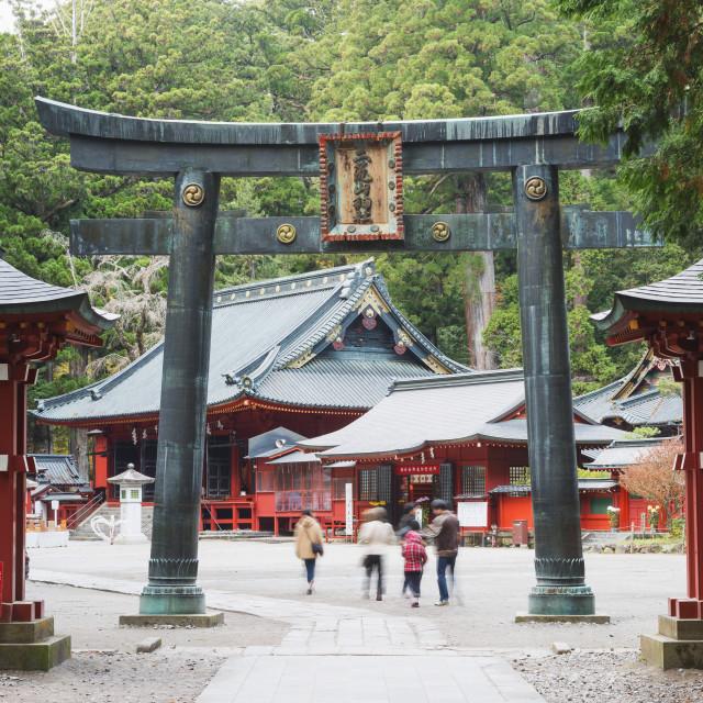 """Torii gate, Nikko shrine, UNESCO World Heritage Site, Tochigi Prefecture,..."" stock image"