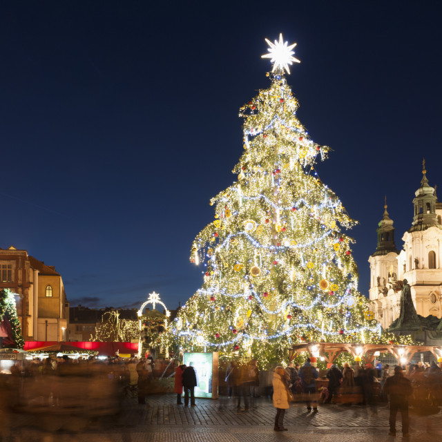 """Christmas Market at Old Town Square with Gothic Old Town Hall, Jan Hus..."" stock image"