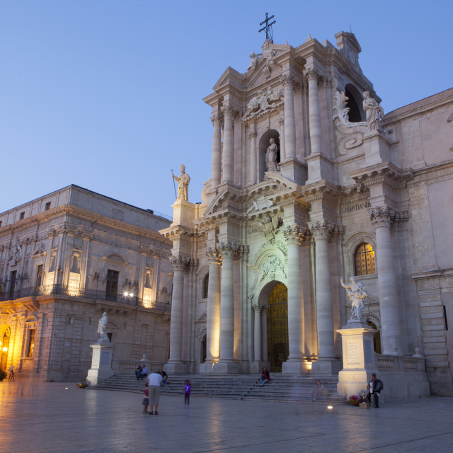 """Cathedral Square, Siracusa, Ortigia, Sicily, Italy, Europe"" stock image"