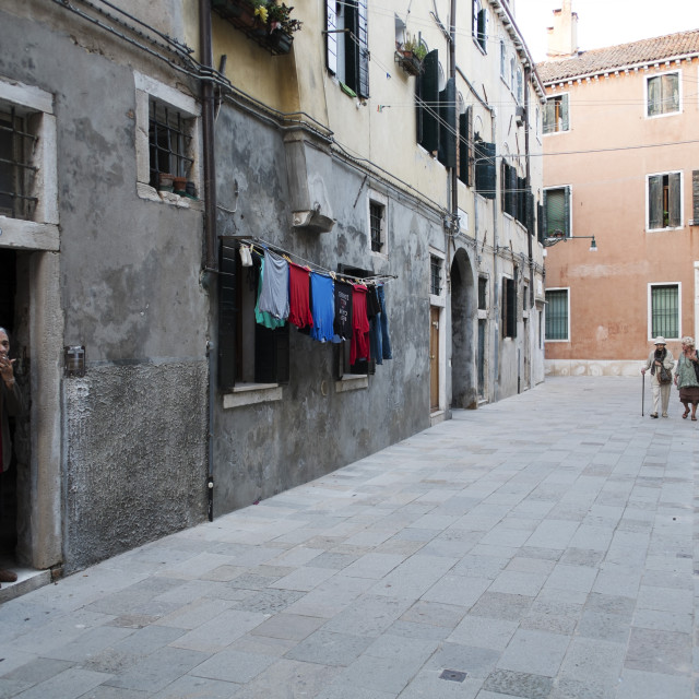 """""""Watching life in the Castello district Venice Italy"""" stock image"""