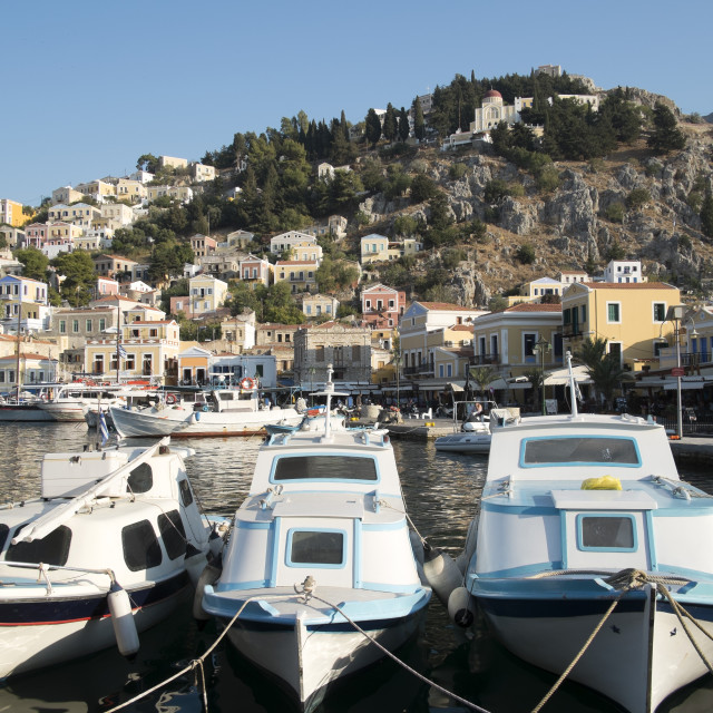"""""""The port of the island of Symi Greece"""" stock image"""