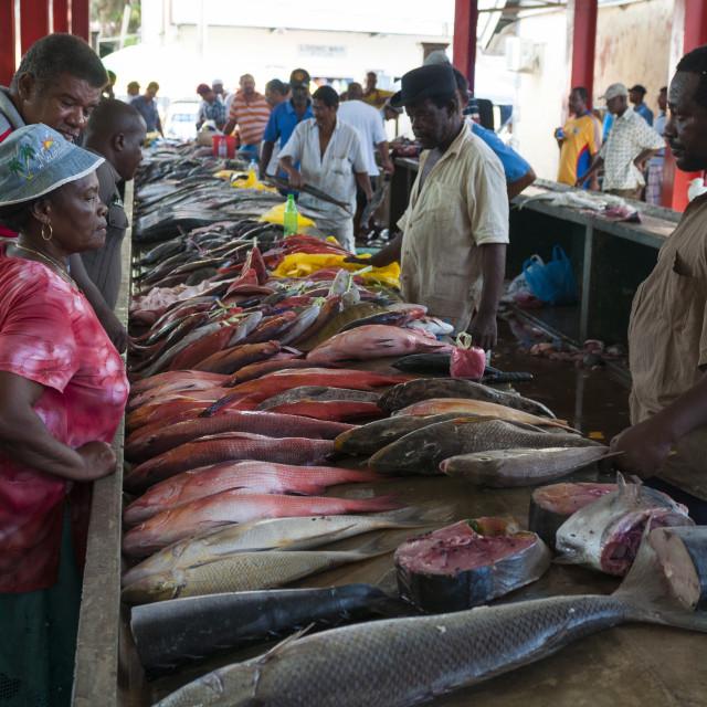 """Market, Victoria, Mahe, Seychelles, Indian Ocean, Africa"" stock image"