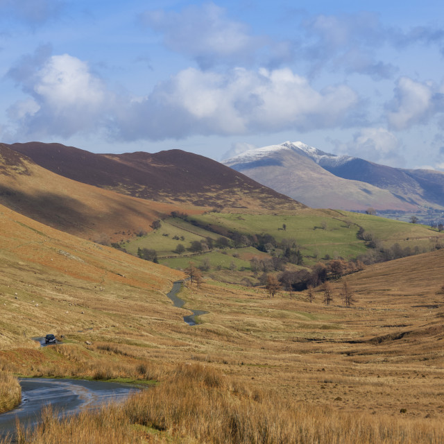 """""""Newlands Valley with Skiddaw over Keswick in the distance, Lake District..."""" stock image"""
