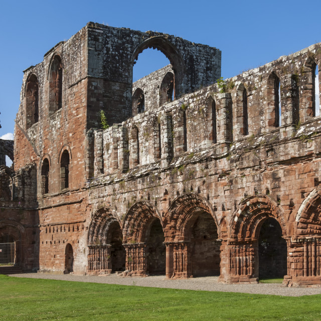 """Elaborate carved stone arches, 12th century St. Mary of Furness Cistercian..."" stock image"