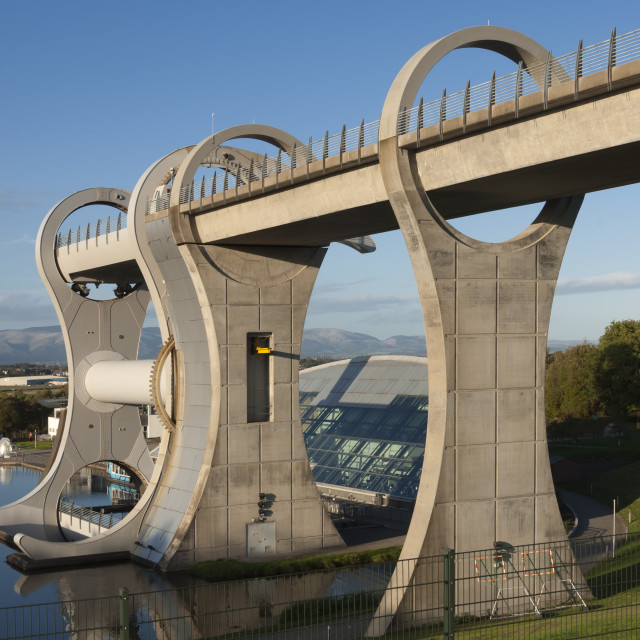"""""""The Falkirk Wheel, connecting the Forth Clyde Canal to the Union Canal,..."""" stock image"""