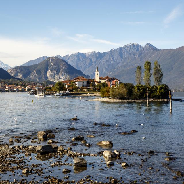 """""""View over Isola Superiore (Isola dei Pescatori) from Isola Bella, Borromean..."""" stock image"""
