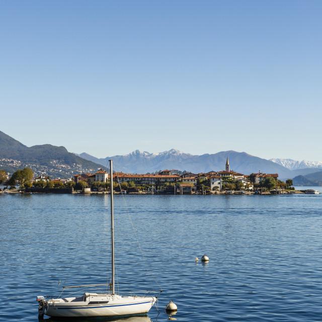 """""""View over Isola Superiore (Isola dei Pescatori), Borromean Islands, Lake..."""" stock image"""