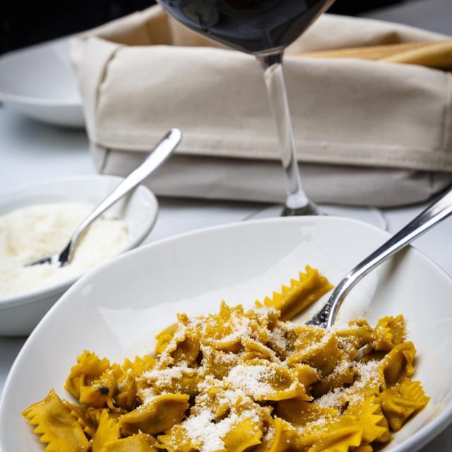 """Plin ravioli, Barolo, Piedmont, Italy, Europe"" stock image"