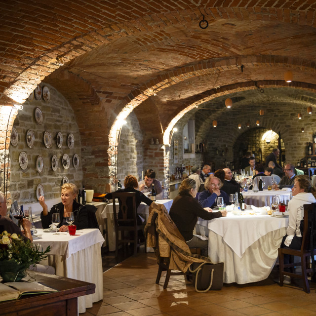 """""""People dining at Castello Restaurant in Bubbio, Langhe, Cuneo, Piedmont,..."""" stock image"""
