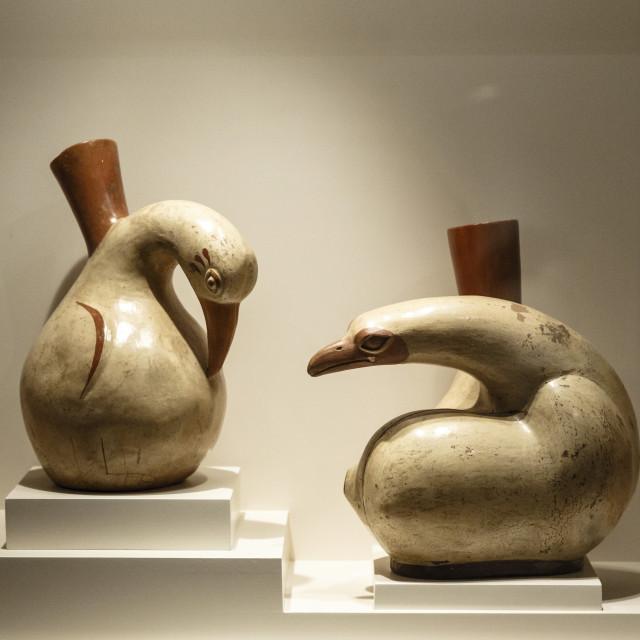 """Huari Ceramics at Casa Cabrera (Museum of Pre-Columbian Art), Cuzco, Peru,..."" stock image"