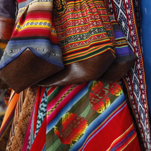 """Local carpets made of llama and alpaca wool for sale at the market, Cuzco,..."" stock image"