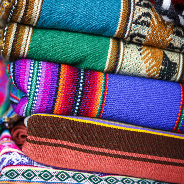 """Colourful carpets made of llama and alpaca wool for sale at San Pedro market,..."" stock image"