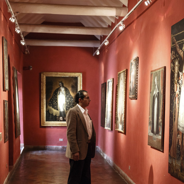 """Vice Royal Gallery at Casa Cabrera (Museum of Pre-Columbian Art), Cuzco,..."" stock image"