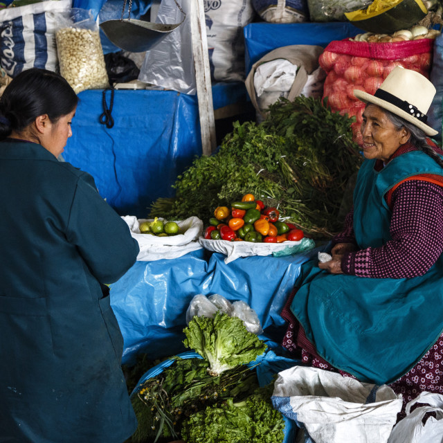"""Vegetable stall at San Pedro Market, Cuzco, Peru, South America"" stock image"