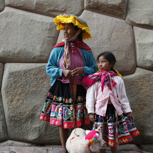 """""""Portrait of Quechua mother and daughter, Cuzco, Peru, South America"""" stock image"""