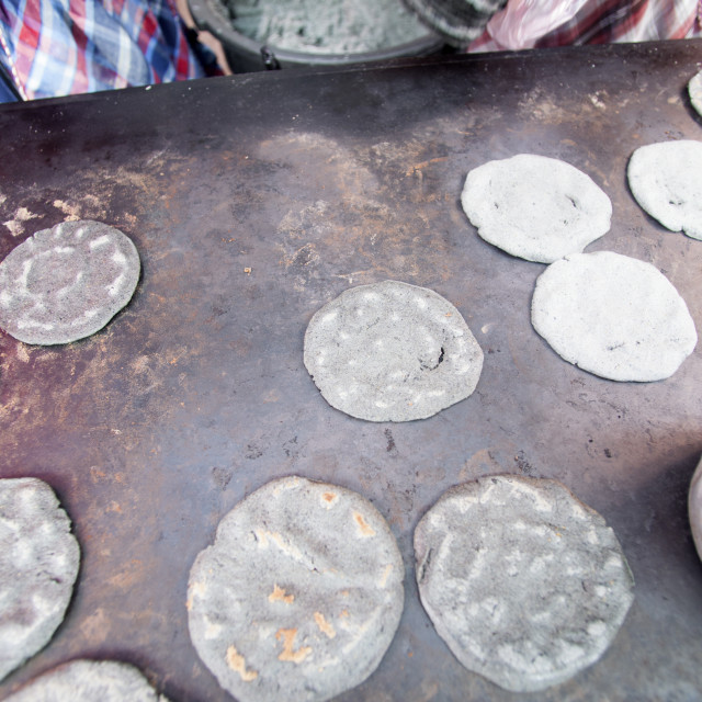 """""""Blue corn tortillas, Chichicastenango, Guatemala, Central America"""" stock image"""