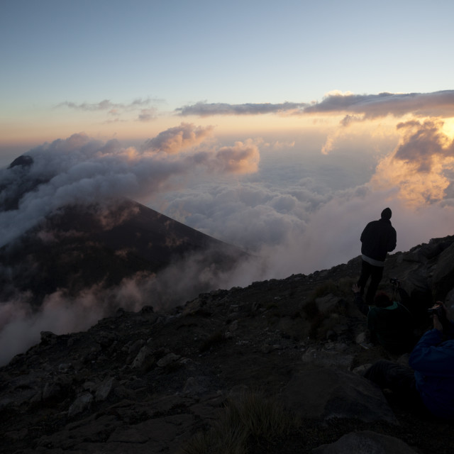"""""""Tourists enjoying the view, Volcan Fuego, Guatemala, Central America"""" stock image"""