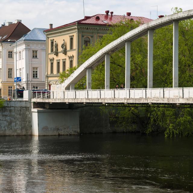 """Bridge of Kaarsild, River Emajogi, Tartu, Estonia, Baltic States, Europe"" stock image"