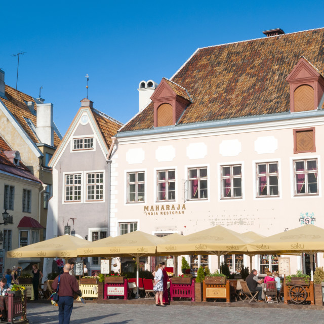 """Raekoja Plats (Town Hall Square), Old Town of Tallinn, UNESCO World Heritage..."" stock image"