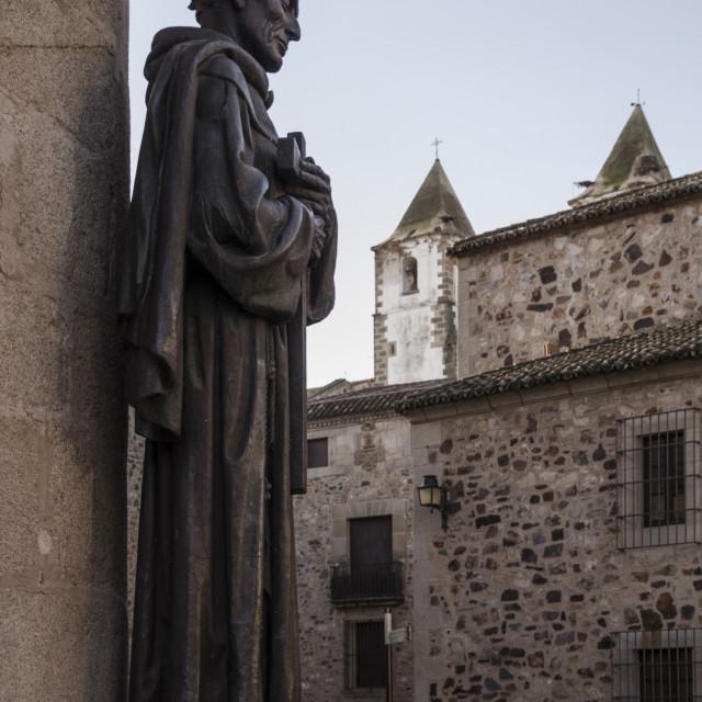 """San Pedro de Alcantara statue in Caceres, UNESCO World Heritage Site,..."" stock image"