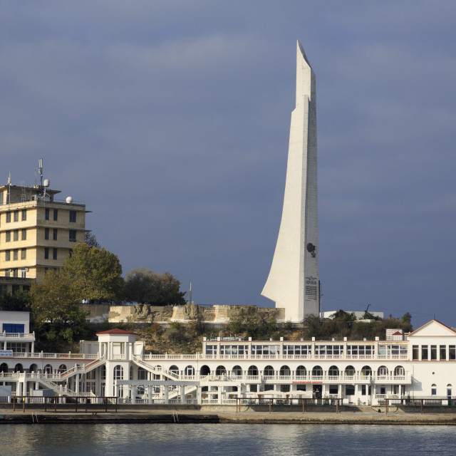 """Hero-City Obelisk on Cape Khrustainy, Artillery Harbour, Sevastopol, Crimea,..."" stock image"