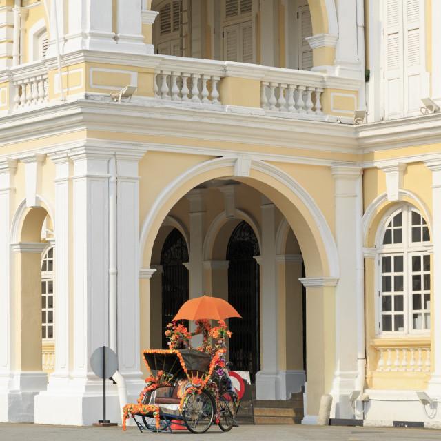 """Trishaw outside Georgetown Town Hall, Georgetown, Penang Island, Malaysia,..."" stock image"