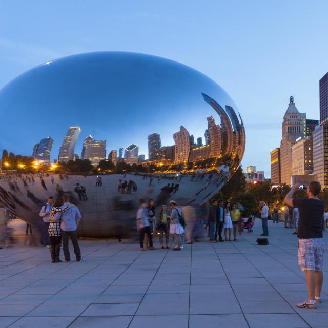 """The Cloud Gate Sculpture in Millenium Park, Chicago, Illinois, United States..."" stock image"