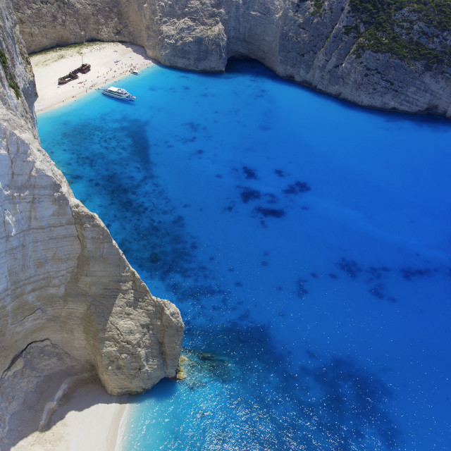 """Navagio Beach and shipwreck at Smugglers Cove on the coast of Zakynthos,..."" stock image"