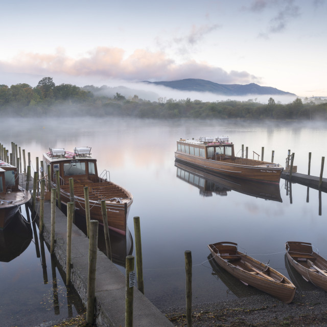 """Boats moored on Derwentwater near Friar's Crag in autumn, Keswick, Lake..."" stock image"