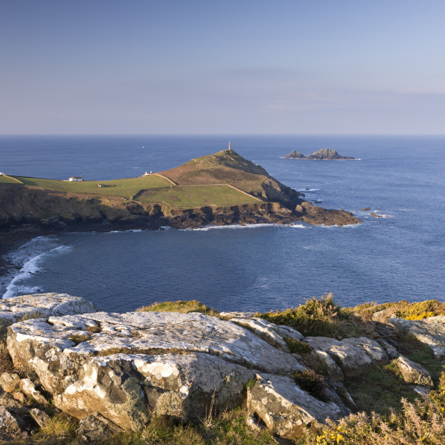 """Cape Cornwall from Kenidjack Castle, Cornwall, England, United Kingdom, Europe"" stock image"
