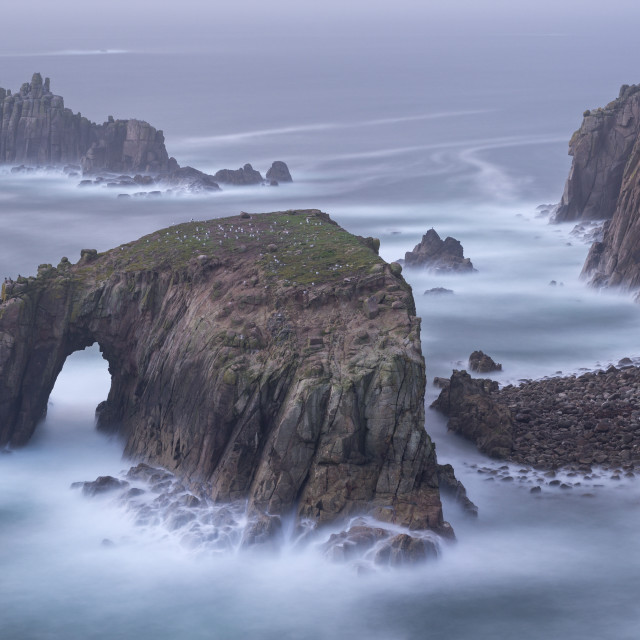 """Dramatic cliffs at Land's End in Cornwall, England, United Kingdom, Europe"" stock image"