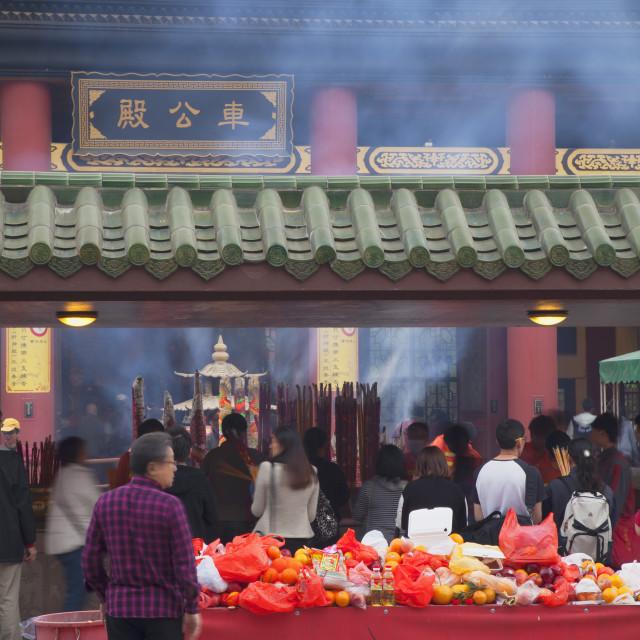 """""""People praying at Che Kung Temple, Shatin, New Territories, Hong Kong, China,..."""" stock image"""