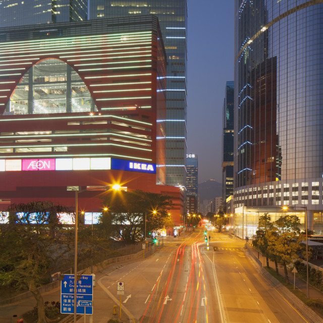 """Megabox shopping mall and Entreprise Square Three at dusk, Kowloon Bay,..."" stock image"
