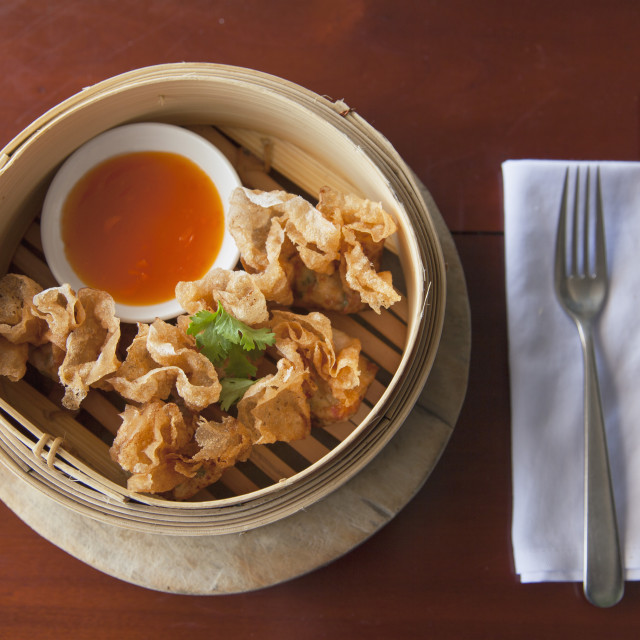 """""""Prawn wrapped in fried rice paper at The Waterfront restaurant, Da Nang,..."""" stock image"""