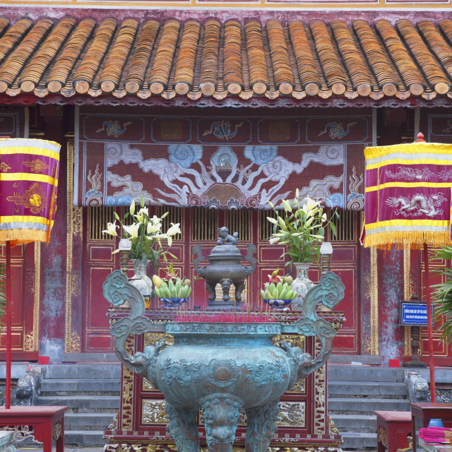 """Mieu Temple inside Imperial Palace in Citadel, UNESCO World Heritage Site,..."" stock image"