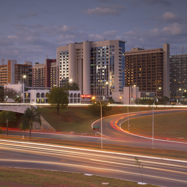 """""""Hotel Sector at dusk, Brasilia, Federal District, Brazil, South America"""" stock image"""