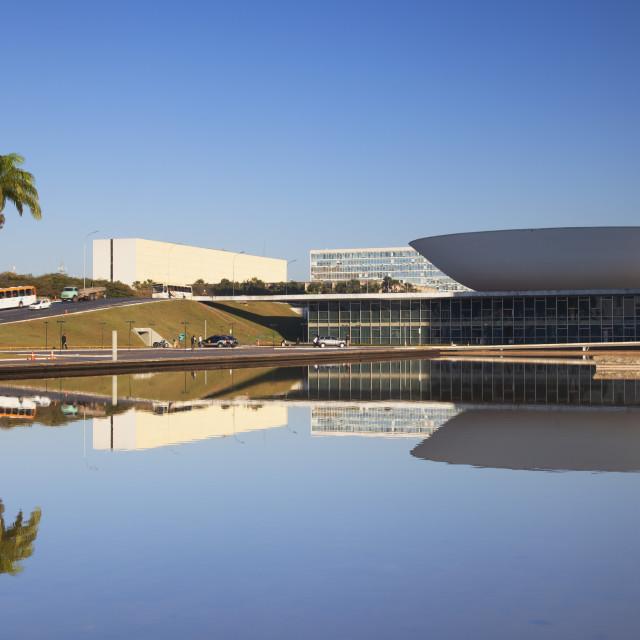 """National Congress, UNESCO World Heritage Site, Brasilia, Federal District,..."" stock image"