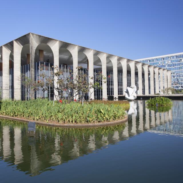 """Itamaraty Palace, UNESCO World Heritage Site, Brasilia, Federal District,..."" stock image"