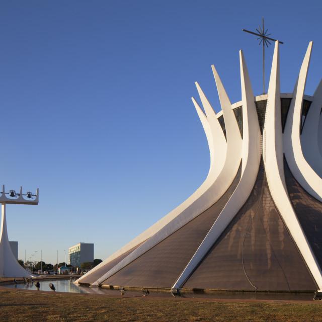 """Metropolitan Cathedral, UNESCO World Heritage Site, Brasilia, Federal..."" stock image"