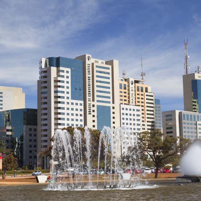 """""""Fountain Square and buildings of Sector Sul, Brasilia, Federal District,..."""" stock image"""