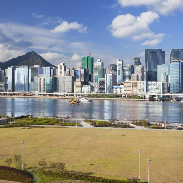 """Runway Park on old Kai Tak airport and skyscrapers of Kwun Tong, Kai Tak,..."" stock image"