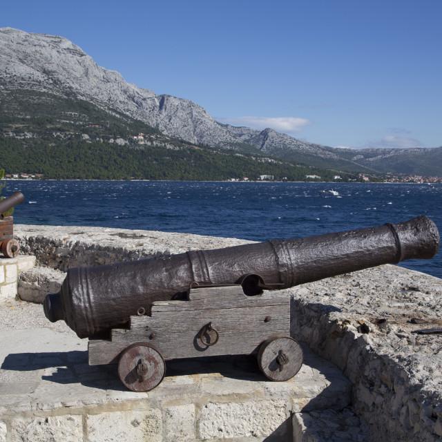 """Old Cannons, Korcula Town, Korcula Island, Croatia, Europe"" stock image"